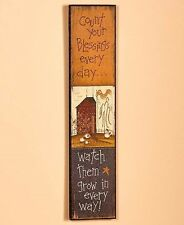 Folk Wall Art Count Your Blessings Dining Living Room Rustic Country Home Decor