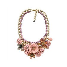 Fashion Style Gold Chain Crystal Flower Bib Big Statement Chunky Necklace Collar