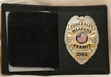 Leather Badge case & Concealed Carry Permit badge Iowa Silver