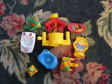 Lot of fisher price little people cars food carts tools wishing well scarecrow