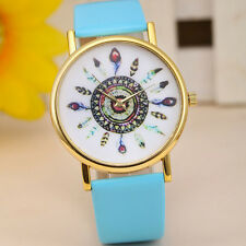 Vintage Feather Dial Leather Band Women Quartz Analog Wrist Watches Light Blue