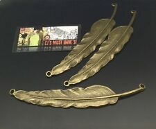 ✿ 3 EX LARGE ANTIQUE BRONZE FEATHER CONNECTOR PENDANT CHARM - JEWELLERY FINDINGS