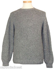 Izod Mens Sweater Crewneck Shaker Marled Rib Knit Cotton Jumper Grey M NEW $68
