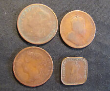 Lot of 4 Straits Settlements 1 Cent Coins - 1885, 1887, 1903, 1920