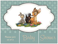 20  BAMBI Thumper FLOWER Disney Baby Shower INVITATIONS & ENVS & SEALS Cards