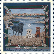 BonEful Fabric Scenic Tapestry Gun Duck Bird Fish Hunt Labrador Dog Lake Cabin