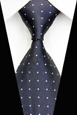 GIFTS FOR MEN Classic Mens Square Dot Patterned Silk Necktie Tie Black White