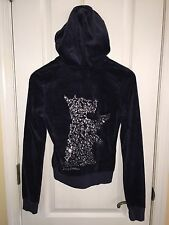 Juicy Couture Blue Velour Silver Sequin Scotty Track Suit Sweat Jacket Size S