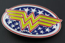 WONDER WOMAN BELT BUCKLE RETRO  OVAL JUSTICE LEAGUE METAL COMIC BOOK DC