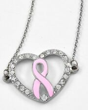 Pink Ribbon Breast Cancer Awareness Heart Sparkling Rhinestones Necklace #469-A