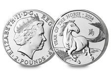 2014 UK Britain Royal Mint 1oz Lunar Horse Silver BU Coin FREE CAPSULE
