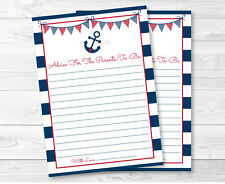 Nautical Anchor Navy Blue & Red Printable Baby Shower Mommy Advice Cards