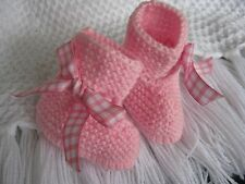 PRETTY BABY HAND KNITTED BOOTEE / BOOT /SHOE /SLIPPER RIBBON PINK  3/6  MONTHS