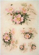 Rice Paper for Decoupage, Scrapbook Sheet, Craft Paper Vintage Pink Flowers