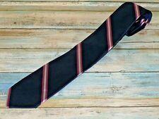J.CREW Navy Blue & Pink Striped Skinny Mens Necktie Tie 100% Silk D03