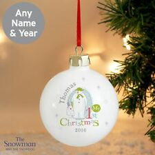 The Snowman and the Snowdog Personalised My 1st Christmas Bauble Gift For Baby