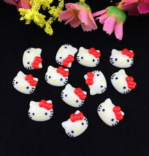 12pcs DIY Cute Resin HELLO KITTY Red Bow flatback Scrapbooking For phone /craft