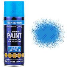 4 x 400ml All Purpose Light Blue Gloss Aerosol Spray Paint Household Car