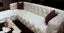 """118"""" sectional bright white top grain leather Tufted RSF sofa LSF chaise"""