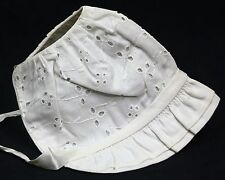 Antique EMBROIDERED WHITE INFANT BABY BONNET w/RIBBON TIES