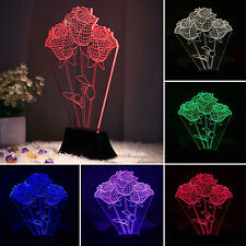 3D Rose Bulbing Night Light Micro USB LED Touch Switch 7 Color Change Table Lamp