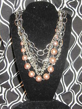 SIMPLY VERA WANG NWT $38 pewter & silver womens necklace multi strand champagne