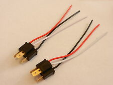 Pair NEW H4 Headlight Bulb Male Wire Harness Connector Wiring plug socket 2