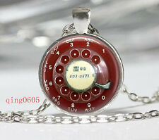 Vintage Phone Button Cabochon Tibetan silver Glass Chain Pendant Necklace #F05