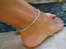 Boho Imitation Turquoise Beads Silver Plated Ankle Chain Anklet Foot Jewelry Hot