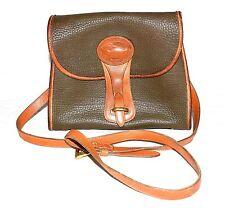 Vtg Dooney & Bourke All Weather Leather Dark Taupe & British Tan Shoulder Bag