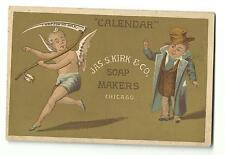 Old Trade Card Jas S Kirk Soap Makers Chicago Calendar New Year Baby Sickle Age