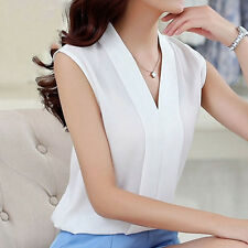 Casual Lady Chiffon V-Neck Vest Top Loose Sleeveless Tank Tops T-Shirt Blouse ES