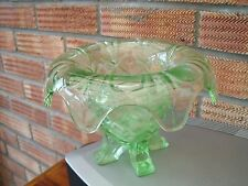 1950s Sowerby Green Glass Vase with Four Feet,