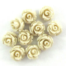 10 6mm synthetic coral carved rose flower pendant bead white