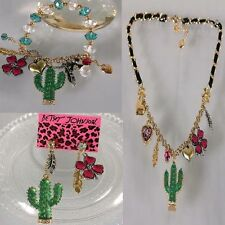 NEW Betsey Johnson cactus leaves stretch bracelet necklace earring Set!