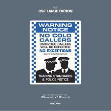 SKU052L - No Cold Callers - Front Door Letter Box Sign / Sticker