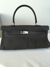 AUTHENTIC HERMES FRINGED JPG SHOULDER KELLY BAG 42CM ETAIN COLOR LIMITED ED