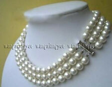 Charming! 3rows White South Sea Shell Pearl Round Beads Fashion Necklace