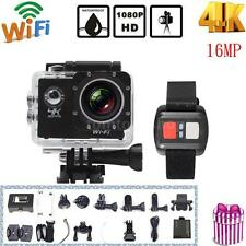 "2"" LCD HD 1080P Wifi 16MP Action Camera Waterproof 4K Video DV Cam Remote U6D4"