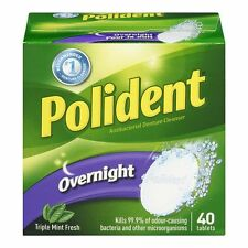 Polident Overnight Antibacterial Denture Cleanser Triple Mint Tablets 40 counts