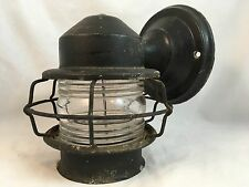 Vtg Nautical Porch Sconce Wall Light Fixture Industrial Outdoor 1940s Cage Tudor