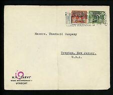 Postal History Netherlands Scott #227+228 WWII Censored 1941 Utrecht Trenton NJ