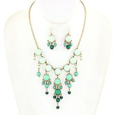 Mint and Dark Mint Ombre Gold Bubble Necklace Set