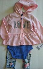 $32 Carters Baby Girl 3 Pc Pink Love Hooded Cardigan & Pants Set 18 Mos NWT