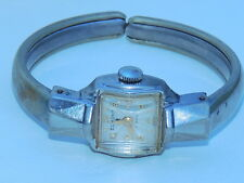 Lady's Vintage Elmont 17j Silver-Tone Wind-Up Watch w/bangle bracelet band