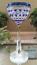 Val St Lambert Vintage Cobalt Blue Cased Cut to Clear Crystal Wine Goblet Glass