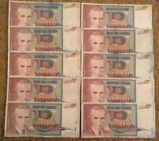 Lot Of 10 X 5 Million Dinars. Yugoslavia. Dated 1993. Circulated.