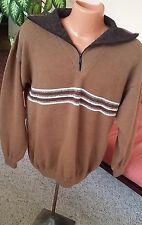 Pure Alpaca Wool Zip Neck Men's Sweater Made in Peru Size L