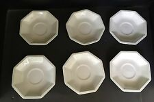 "6 Johnson Brother Octagon Saucers Cream Color Beaded 5.5"" Older Stamp"
