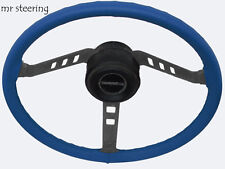 FITS MG TF MIDGET 53-55 QUALITY REAL BLUE LEATHER STEERING WHEEL COVER  NEW